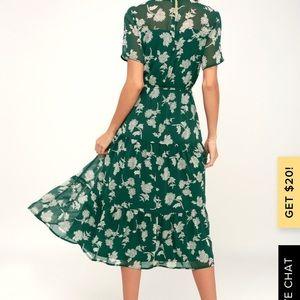 Lulus green floral maxi dress